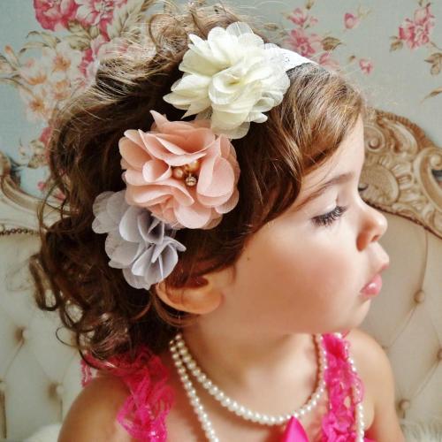 Szatén virágos hajpánt 4 színben