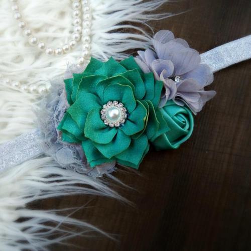 Ezüst-zöld hajpánt