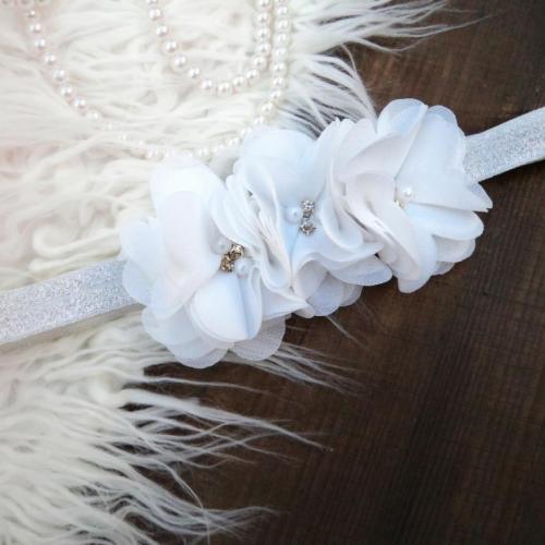 Fehér-ezüst baba hajpánt