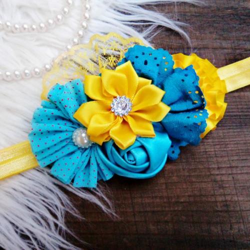 Kék-sárga hajpánt