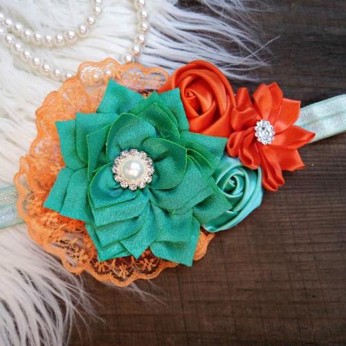 Zöld-narancs hajpánt