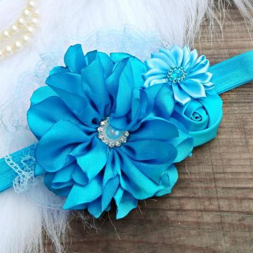 Nagyvirágos kék hajpánt